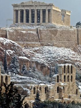 The Ancient Parthenon and Herod Atticus Theater on the Acropolis Hill