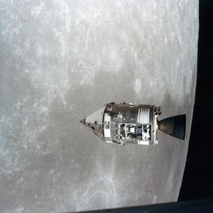The Apollo 15 Command and Service Modules in Lunar Orbit, 1971