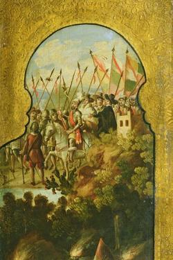 The Arrival of the Spanish, Lead by Cortez, in the Plateau of Mexico City
