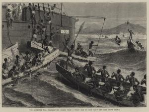 The Ashantee War, Transhipping Stores from a Troop Ship to Surf Boats Off Cape Coast Castle