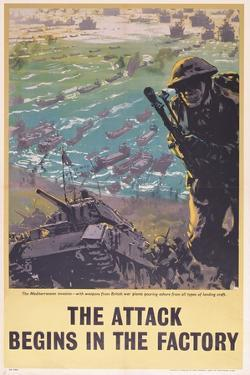 The Attack Begins in the Factory, WWII Poster, 1943