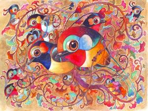 The Big Family Birds in Fantasy Jungle. Hand Made Watercolor Painting. for Animals Illustration,Gre