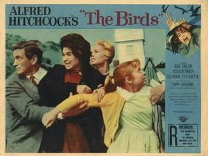 The Birds, Lobbycard, L-R: Rod Taylor, Suzanne Pleshette, Tippi Hedren, Veronica CArtwright, 1963