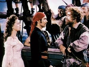 THE BLACK SWANN, 1942 directed by HENRY KING Maureen O'Hara, Tyrone Power and George Sanders (photo