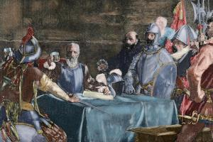 The Blood Compact's Ceremony Between Miguel Lopez De Legazpi (1503-1572) and Sikatuna