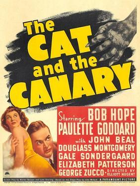 THE CAT AND THE CANARY, from left: Paulette Goddard, Bob Hope on window card, 1939.