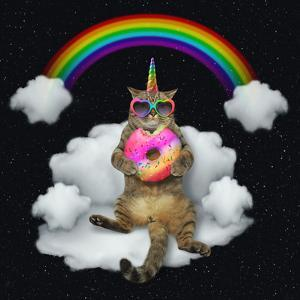 The Cat Unicorn in Sunglasses with a Color Donut is Sitting on the Cloud like a Couch. the Rainbow