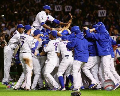 The Chicago Cubs celebrate winning Game 4 of the 2015 National League Division Series
