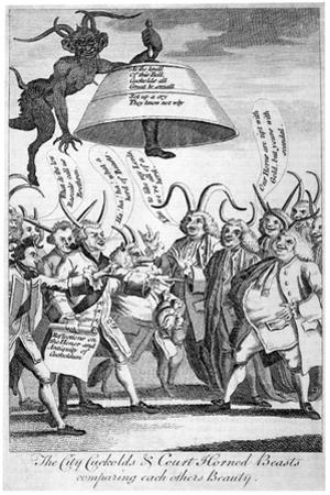 The City Cuckolds and Court Horned Beasts Comparing Each Other's Beauty, 1770