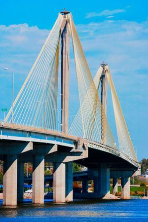 The Clark Bridge, also known as Cook Bridge, at Alton, Illinois, a Cable bridge carries U.S. Rou...