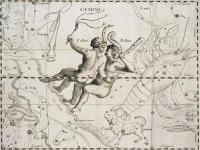 The Constellation of Gemini from Firmamentum Sobiescianum Sive Uranographia