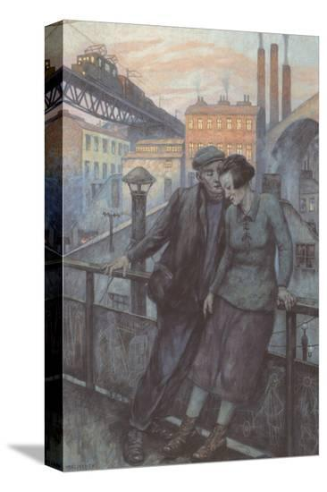 The Day Ends-Hans Baluschek-Stretched Canvas Print