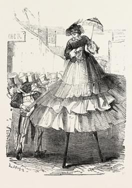 The Derby Day, Scenes by the Roadside and on the Downs: Crinoline on Stilts. Uk, 1860