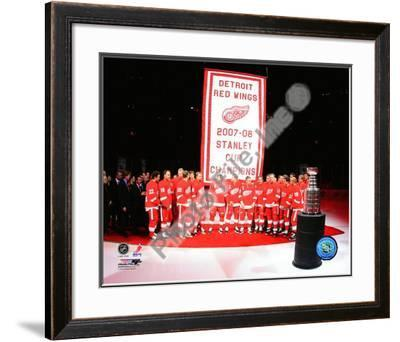The Detroit Red Wings with the 2007-08 Stanley Cup Championship Banner
