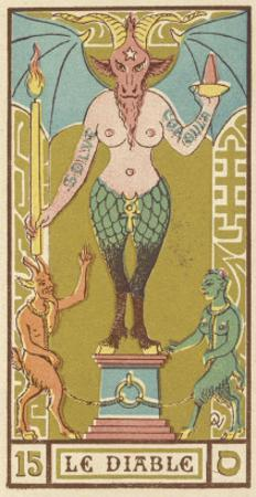 The Devil Depicted on a Tarot Card