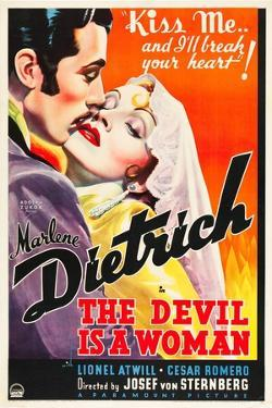 THE DEVIL IS A WOMAN, from left: Cesar Romero, Marlene Dietrich, 1935