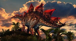 The Distinctive Shape of Stegosaurus Stands Out Against the Sunset