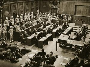 The Dock at the Nuremberg Trials. Front Row from Left: Hermann Goring
