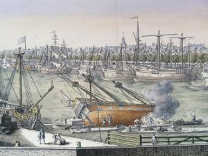 The Dock, Detail from Harbor and Park, Le Havre, France, Ca 1710, by Milcent, France, 18th Century