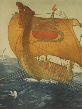 The Dragon Ship, Viking Ship at Sea, Etching by John Taylor Arms 1922