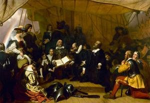 The Embarkation of the Pilgrims Historic Art Print Poster