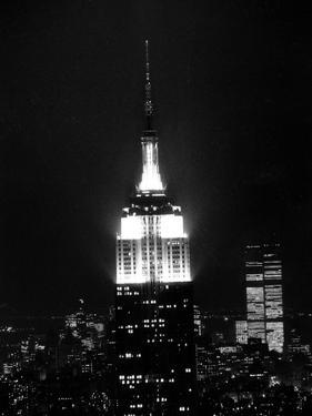 The Empire State Building Lights up at Night