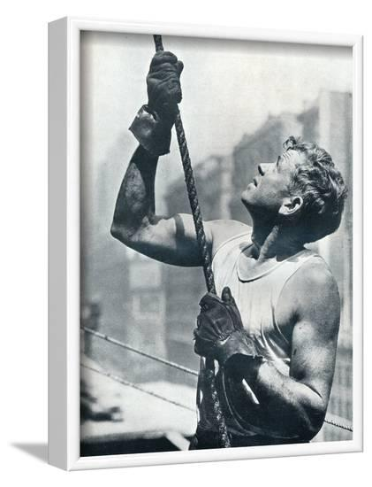 'The Empire State Building: Skyscraper Workers', c1931-Lewis Wickes Hine-Framed Photographic Print