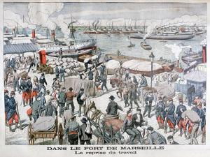 The End of the Strike by Dock Workers at the Port of Marseilles, France, 1904