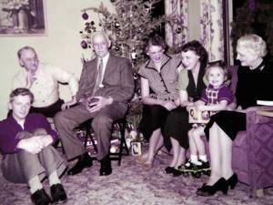 The Family Gathers around the Christmas Tree, Ca. 1956