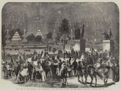 The Fetes at Paris, Fireworks and Illuminations at the Trocadero, Sketched from the Champ De Mars