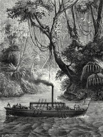 The First American Steamboat. John Fitch Conducts an Experiment in 1789 Near Philadelpia on the Del