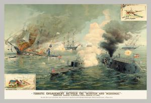 The First Encounter of Ironclads Monitor and Merrimac