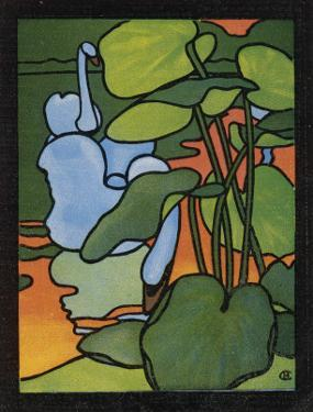 The First of Two Designs for Stained Glass Depicting Swans in the Water. (Cygnus Olor)