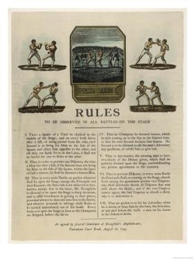 The First Rules of Boxing Published August 16th 1743