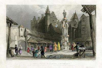 The Fish Market, Antwerp, Belgium, 19th Century by J Rogers