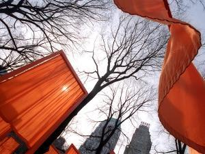 """""""The Gates"""" are Shown in Central Park in New York with Flowing Fabric the Color of a Sunrise"""