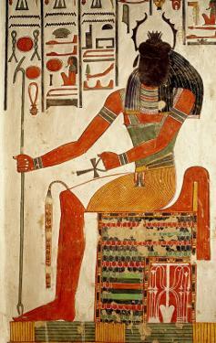 The God, Khepri, from the Tomb of Nefertari, New Kingdom (Wall Painting)