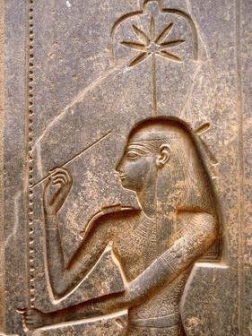 The Goddess Seshat, Personification of Writing, Shown in the Act of Inscribing the Palm Leaf Rib…