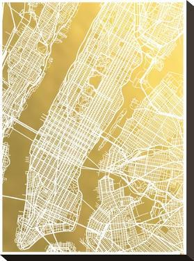 New York City No Caps by The Gold Foil Map Company