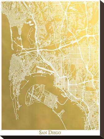 San Diego by The Gold Foil Map Company