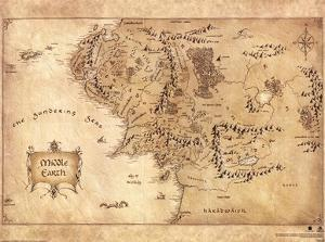The Hobbit - Middle Earth Map Movie Poster