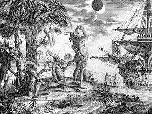 The Indians Astonished at the Eclipse of the Moon Foretold by Columbus, Illustration from 'A New…