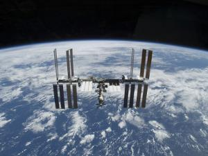 The International Space Station in Orbit Above the Earth