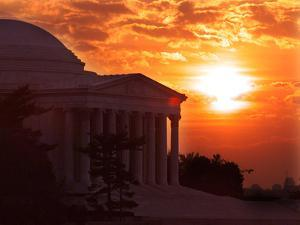 The Jefferson Memorial is Seen at the End of a Record High Temperature Day