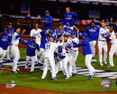 The Kansas City Royals celebrate winning Game 1 of the 2015 World Series