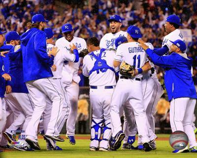 The Kansas City Royals celebrate winning Game 3 of the 2014 American League Division Series