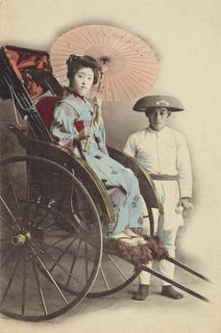Portrait of Young Woman in Rickshaw by The Kyoto Collection