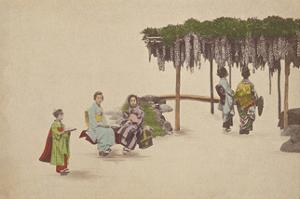 Women Under Wisteria Trellis by The Kyoto Collection
