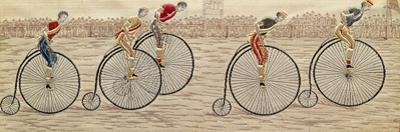 The Last Lap, Penny Farthing Race Woven Silk Stevengraph, by Thomas Stevens of Coventry, 1872