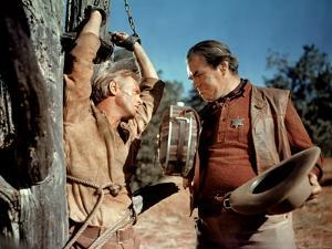 THE LAST WAGON, 1956 directed by DELMER DAVES Richard Widmark and George Matthews (photo)